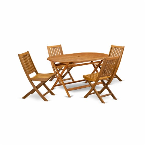 East West Furniture DIDK5CWNA 5-Piece Outdoor Dining Table Set Perspective: front