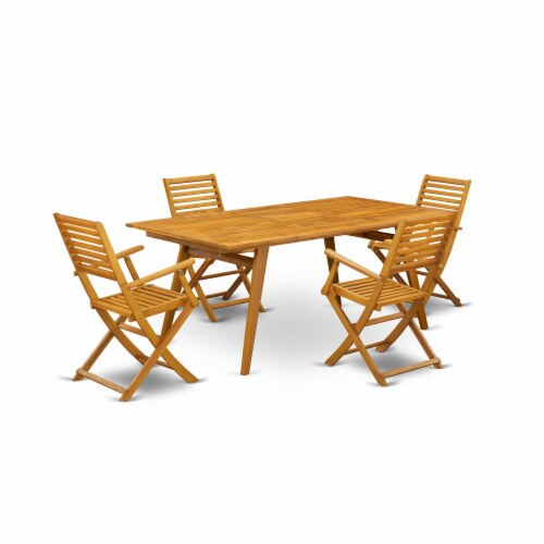 East West Furniture DEBS5CANA 5-Pc Outdoor Dining Table Set Perspective: front