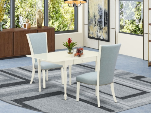 A dinette set of two indoor Chairs with Baby Blue, & a drop leaf  table Perspective: front