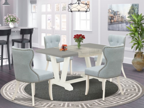 5-Piece Dining Set- 4 Chair - Table Top & Wooden Legs - Cement & Linen White Perspective: front