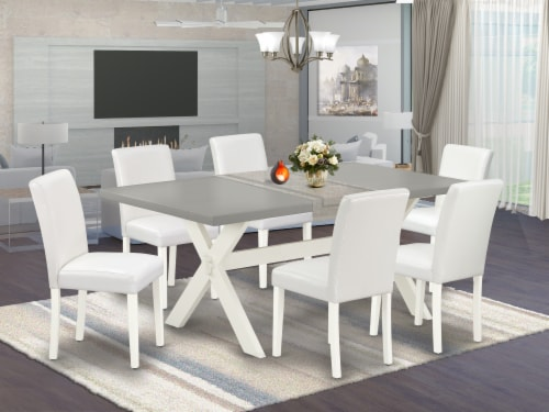 X097AB264-7 7-Piece Table Set Cement table Top & 6 Pu Leather Chairs,Linen White Perspective: front