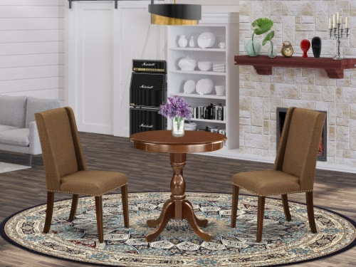 ESFL3-MAH-18 - 3-Pc Dining Table Set - 2 Kitchen Chairs and 1 Table (Mahogany) Perspective: front