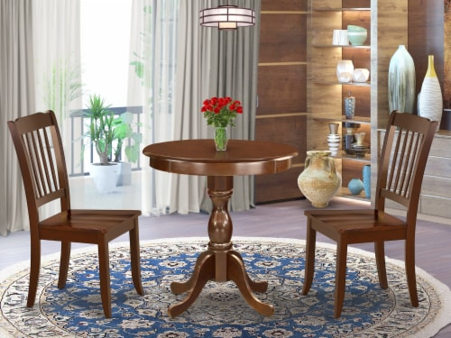 3-Pc Modern Dining Table Set - 2 Kitchen Chairs and 1 Table (Mahogany) Perspective: front
