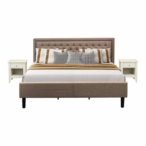 East West Furniture 3-piece Wood King Bedroom Set in Dark Khaki Brown Perspective: front