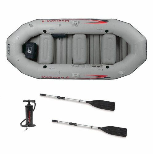Intex Mariner 4-Person Inflatable River Lake Dinghy Boat and Oars Set (2 Pack) Perspective: front