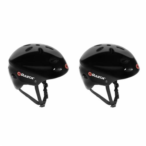 Razor V17 Childrens Outdoor Bike/Scooter/Skateboard Helmet, Gloss Black (2 Pack) Perspective: front