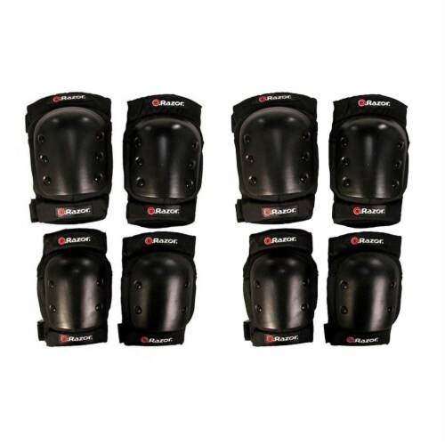Razor Deluxe Child Multi-Sport Elbow & Knee Pad Safety Pro Set - Black (2 Pack) Perspective: front