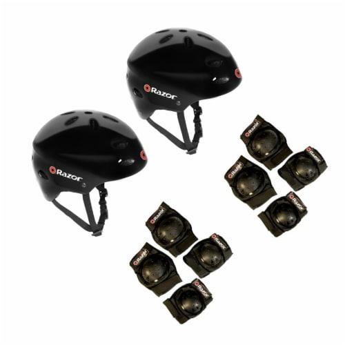 Razor V17 Kids Bike Skateboard Helmets (2 Pack) + Elbow & Knee Pads (2 Pack) Perspective: front
