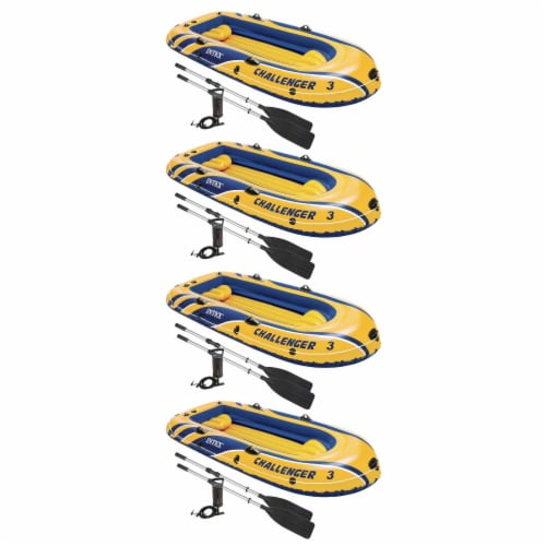 Intex Challenger 3 Inflatable Raft Boat Set With Pump And Oars 68370EP (4 Pack) Perspective: front