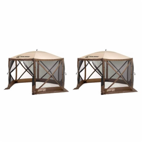 Clam Quick Set Escape Portable Camping Outdoor Gazebo Canopy, Brown/Tan (2 Pack) Perspective: front