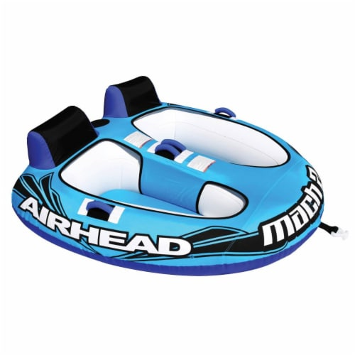 Airhead Mach 2 Inflatable 2 Rider Cockpit Lake Water Towable Tube, Blue (2 Pack) Perspective: front