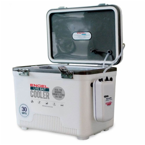 Engel 30 Quart Hard Sided Live Bait Fishing Dry Box Coolers, White (2 Pack) Perspective: front