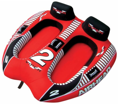 AIRHEAD Viper 2 Double Rider Cockpit Inflatable Towable Lake Water Tube (2 Pack) Perspective: front