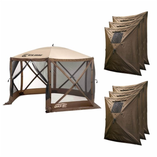 Clam Quick Set Escape Portable Camping Outdoor Canopy Screen with 6 Wind Panels Perspective: front