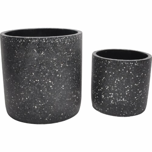 Moes Home Collection VZ-1009-02 Kasvaa Planter - Black - 14 x 13.5 x 13.5 in. - Set of 2 Perspective: front
