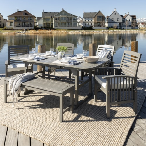 6-Piece Classic Outdoor Patio Dining Set - Grey Wash Perspective: front