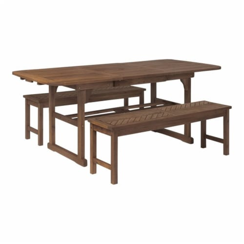 3-Piece Extendable Outdoor Patio Dining Set - Dark Brown Perspective: front