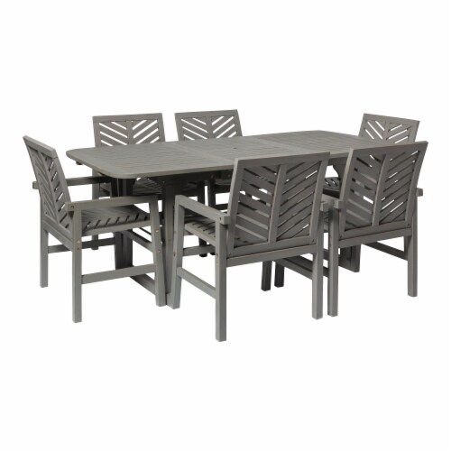 7-Piece Extendable Outdoor Patio Dining Set - Grey Wash Perspective: front