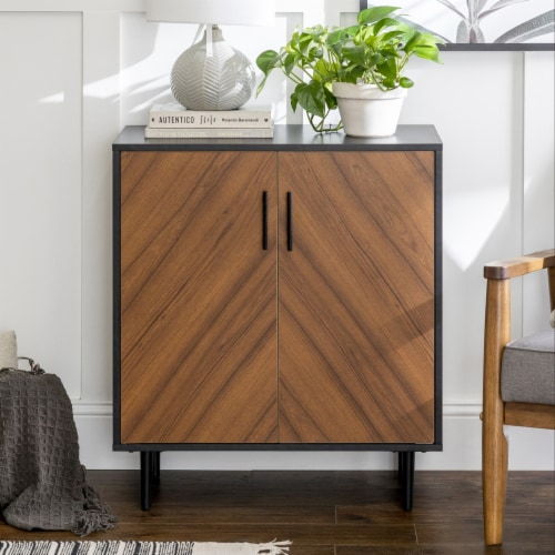 28  Modern Bookmatch Accent Cabinet - Solid Black Perspective: front
