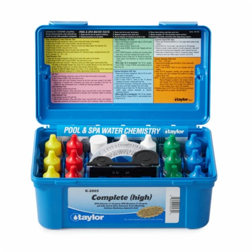 Taylor K2005 Swimming Pool Chlorine Bromine Alkalinity Hardness pH DP Test Kit Perspective: front