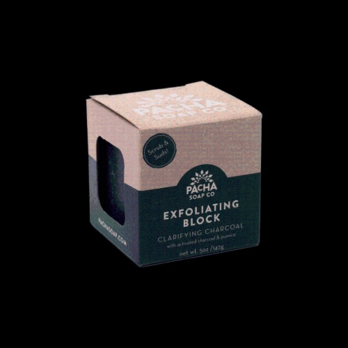 Pacha Soap Co. Clarifying Charcoal Exfoliating Block Perspective: front