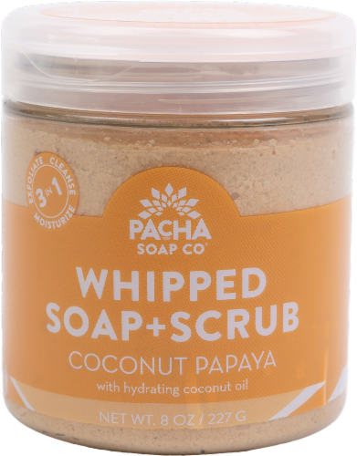 Pacha Soap Co Coconut Papaya Whipped Soap and Scrub Perspective: front