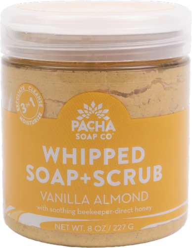 Pacha Soap Co Vanilla Almond Soap and Scrub Perspective: front