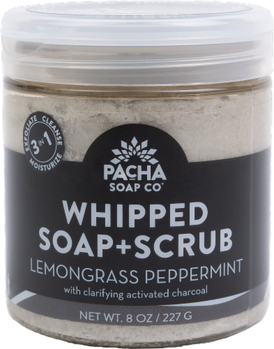 Pacha Soap Co Lemongrass Peppermint Soap and Scrub Perspective: front