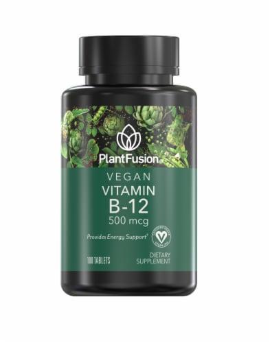 PlantFusion Vegan Vitamin B-12 500mcg Perspective: front