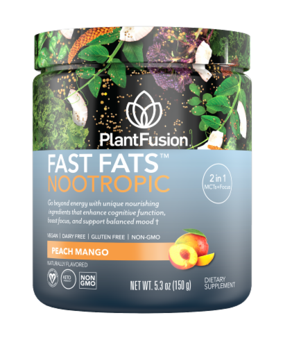 Plant Fusion Fast Fats Nootropic Peach Mango Dietary Supplement Perspective: front
