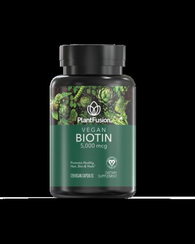 PlantFusion Vegan Biotin 5000mcg Perspective: front