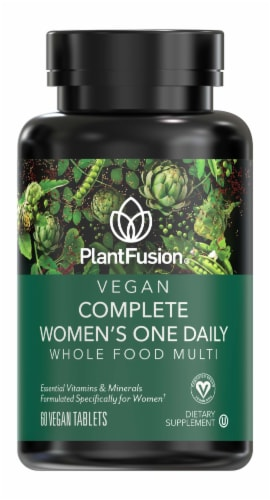 PlantFusion Vegan Complete Women's One Daily Whole Food Multi-Vitamin Vegan Tablets Perspective: front