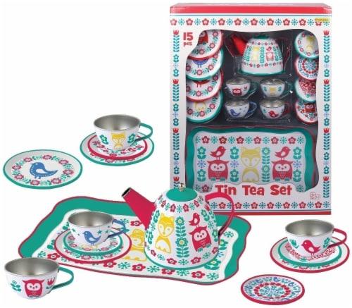 Champion Owl & Fox Print Tin Tea Set Perspective: front