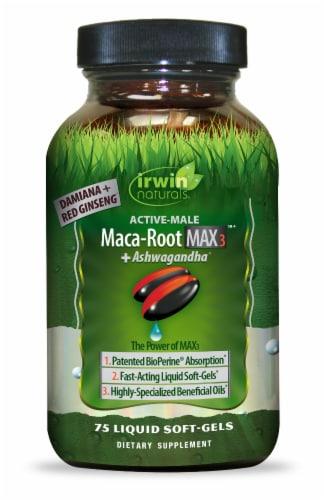 Irwin Naturals Maca Root Max3 + Ashwagandha Supplement Perspective: front