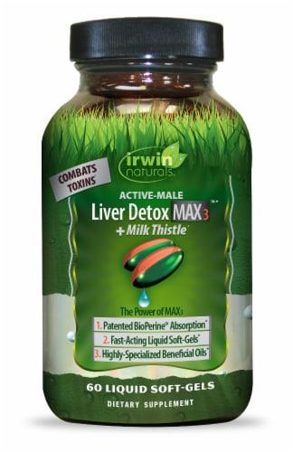 Irwin Naturals Liver Detox Max3 + Milk Thistle Softgels Perspective: front
