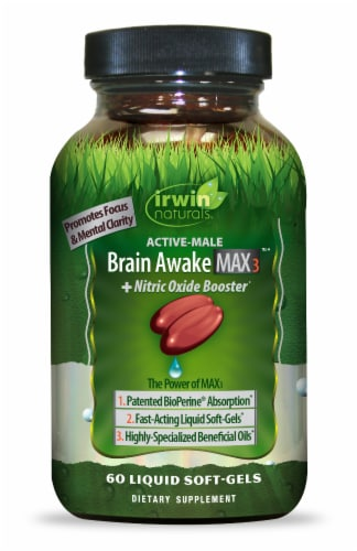 Irwin Naturals Brain Awake Max3 + Nitric Oxide Booster Soft Gels Perspective: front