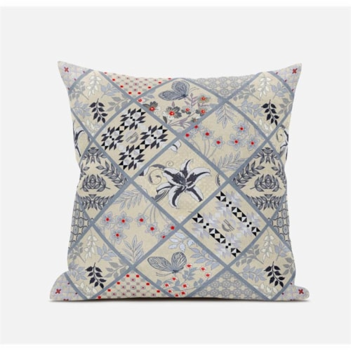 Amrita Sen Fall Patch Snowflowers 20 x20  Suede Pillow in Dark Green Peach Perspective: front