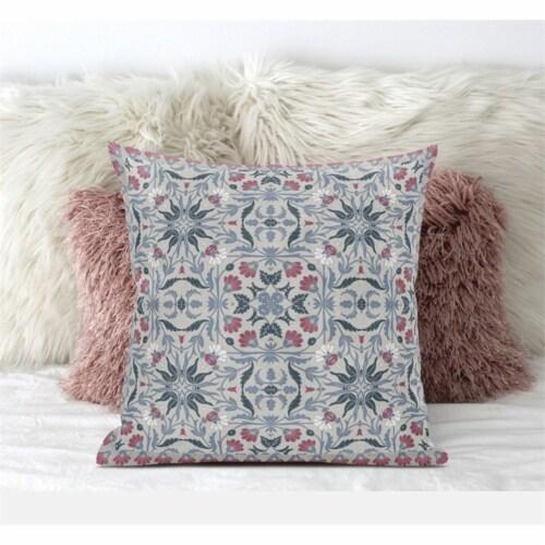 Amrita Sen Jahan Paisley 16 x16  Suede Pillow in Muted Green Grey Indigo Perspective: front