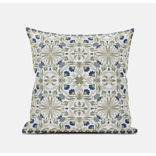 Amrita Sen Jahan Paisley 20 x20  Suede Pillow in Indigo White Perspective: front