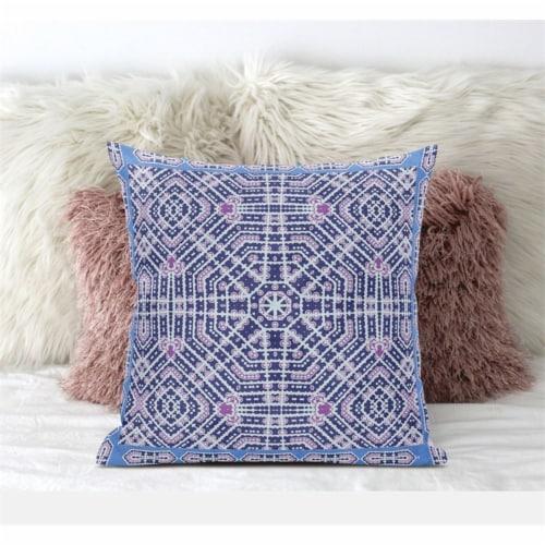 Amrita Sen Geostar Wreath Palace 16 x16  Suede Pillow in Indigo Hot Pink Perspective: front