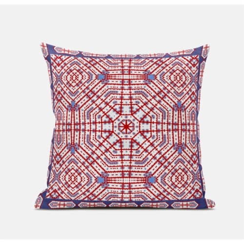 Amrita Sen Geostar Wreath Palace 18 x18  Suede Pillow in Light Blue Hot Pink Perspective: front
