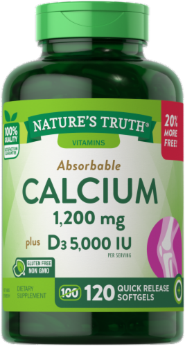 Nature's Truth Absorbable Calcium plus D3 Quick Release Softgels Perspective: front
