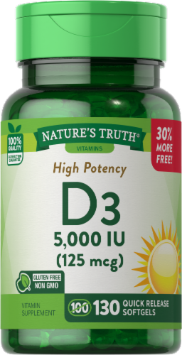 Nature's Truth High Potnecy Vitamin D3 Softgels 125mcg Perspective: front