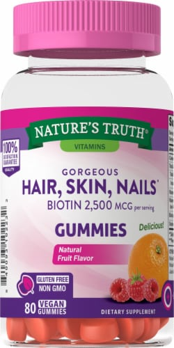 Nature's Truth Goregous Hair Skin & Nail Botin Gummies 2500mcg Perspective: front