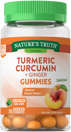 Nature's Truth Tumeric Curcumin + Ginger Gummies Perspective: front