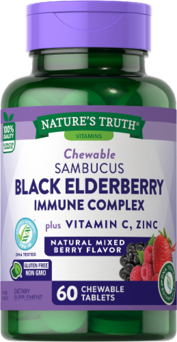 Nature's Truth Immune Complex Elderberry + Vitamin C Chewable Tablets Perspective: front