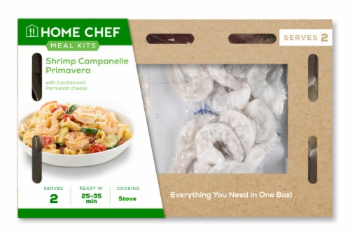 Home Chef Meal Kit Shrimp Campanelle Primavera Perspective: front