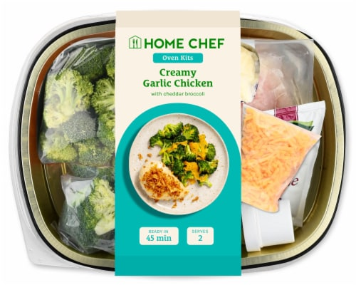 Home Chef Oven Kit Creamy Garlic Chicken with Cheddar Broccoli Perspective: front