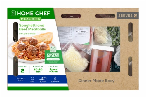 Home Chef Value Meal Kit Spaghetti And Beef Meatballs With Garlic Bread Perspective: front