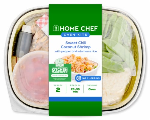 Home Chef Oven Kit Sweet Chili Coconut Shrimp With Pepper And Edamame Rice Perspective: front